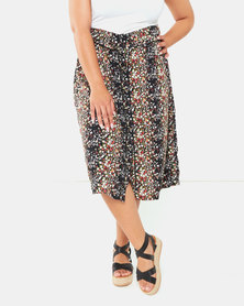 Brave Soul Plus Size Flower Print Skirt  Black