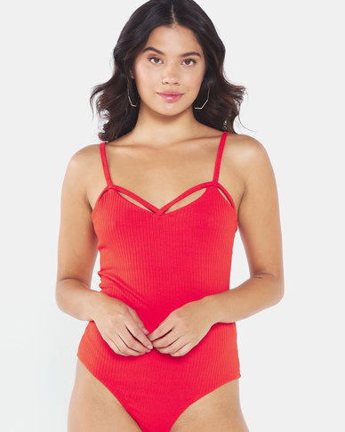 Brave Soul Strappy Rib Body Suit Red