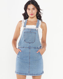 Brave Soul Dungaree Dress With Pocket On The Chest Mid Blue