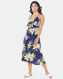 Brave Soul Strappy All Over Print Dress Navy Floral