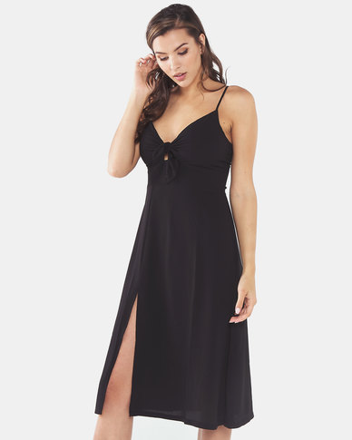 Brave Soul Strappy Dress With Tie Up Detail At Front Black