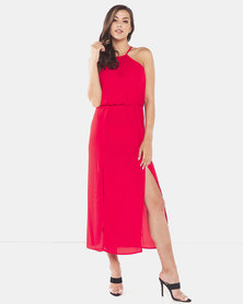 Brave Soul Solid Colour Maxi Dress With Lining Red