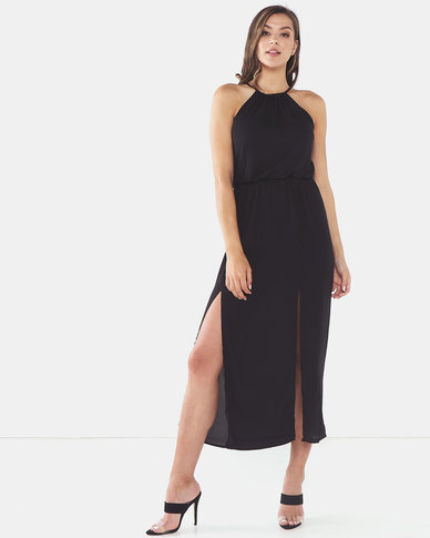 Brave Soul Solid Colour Maxi Dress With Lining Black