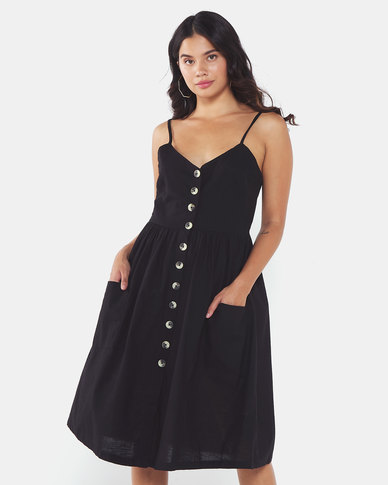 Brave Soul Strappy Button Dress With Pockets Black