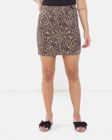 Brave Soul Animal Print Denim Skirt Leopard Print