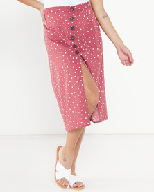Brave Soul Spotted Midi Skirt With Button Detail Ash Rose