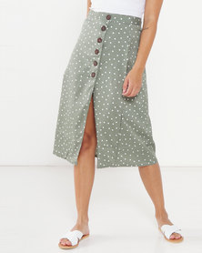 Brave Soul Spotted Midi Skirt With Button Detail Dew