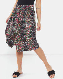 Brave Soul All Over Printed Midi Length Skirt Black Floral