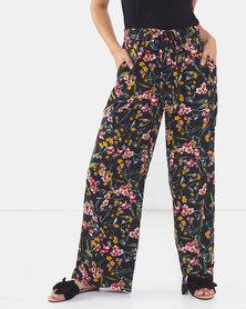 Brave Soul Printed Wide Leg Pants Navy Floral