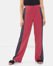 Brave Soul Trousers With Panel Red Print