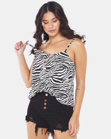 Brave Soul Flowy Cami Zebra Print