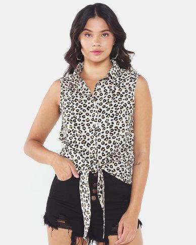 Brave Soul Sleeveless Shirt With Leopard Print