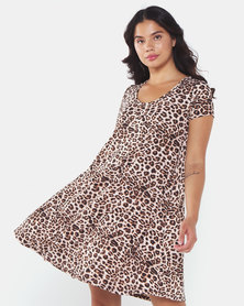 Brave Soul Short Sleeve Swing Dress With All Over Leopard Print