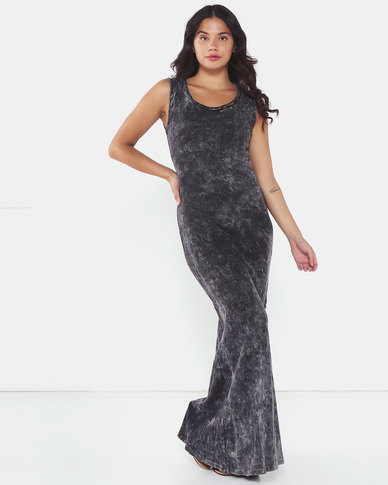 Brave Soul Ladies Rib Maxi Dress With Eyelet And Tie Up Detail Charcoal