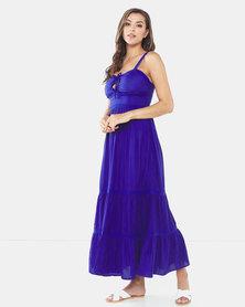 Brave Soul Maxi Dress With Crochet Detail True Blue