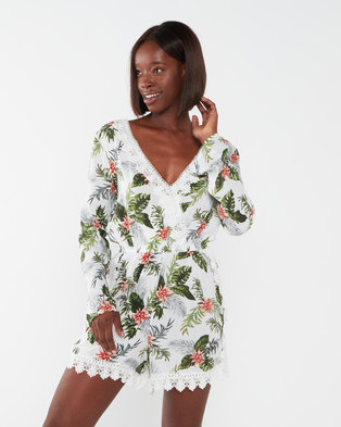 Brave Soul All Over Print Long Sleeve Playsuit Green Multi