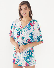 Brave Soul Ladies Woven All Over Printed Playsuit Ecru/Turq