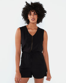 Brave Soul Woven Playsuit With Zip Up Front  Black