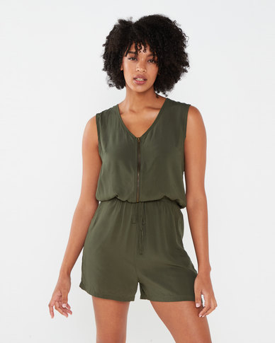 Brave Soul Woven Playsuit With Zip Up Front Moss Green
