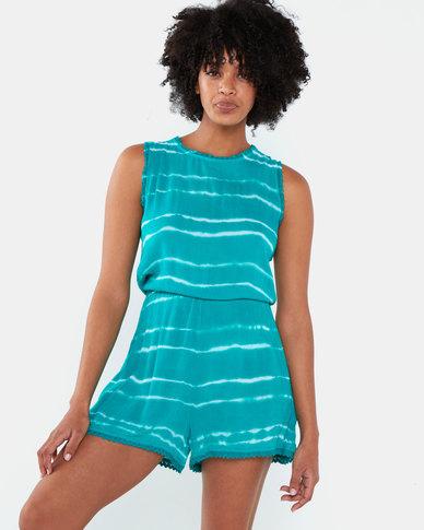Brave Soul Tye Dye Playsuit Jade