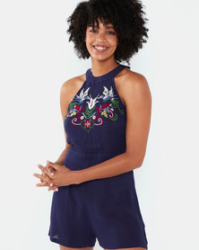 Brave Soul High Neck Embroidered Playsuit Navy