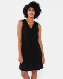 Brave Soul Wrap Front Dress With Tie Detail Black