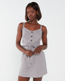 Brave Soul Brown Stripe Strappy Dress With Self Fabric Waist Belt