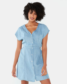 Brave Soul V Neck Button Down Dress With Tie Waist Blue