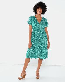 Brave Soul Button Through Midi Dress Floral Green