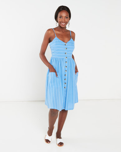 Brave Soul Riveria Strappy Button Through Dress With All Over Embroidery Blue/White