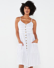 Brave Soul Strappy Button Through Dress With All Over Embroidery White/Navy