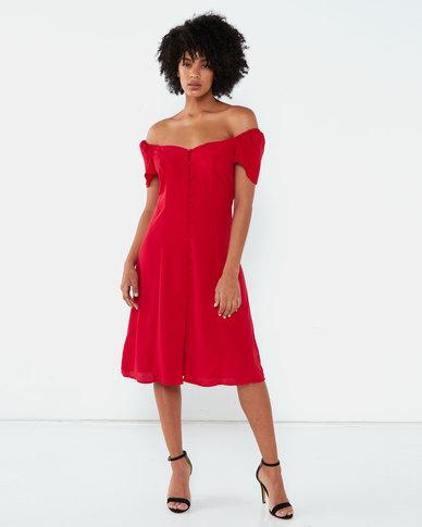 Brave Soul Short Sleeve Mini Length Dress Red