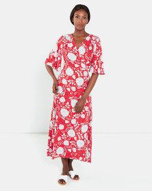 Brave Soul Maxi Wrap Dress Red