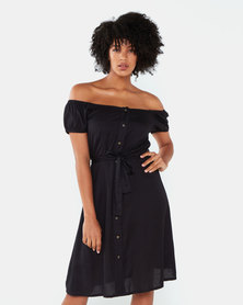 Brave Soul Broderie Anglaise Maxi Dress  Black