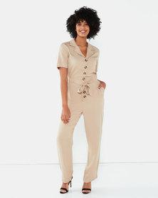 Brave Soul Short Sleeve Boiler Suit Oyster