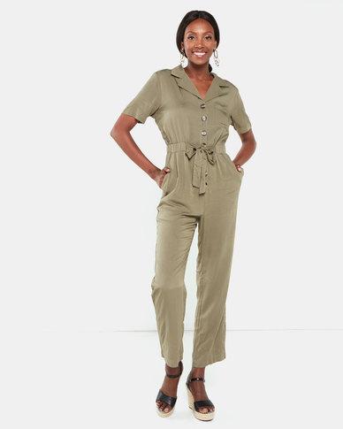 Brave Soul Short Sleeve Boiler Suit Khaki