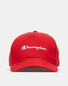 Champion 5 Panel Full-Script Logo Cap Red