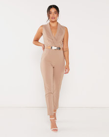 Sissy Boy Nevada Girl Boss Wrap Jumpsuit With Buckle Detailing Brown
