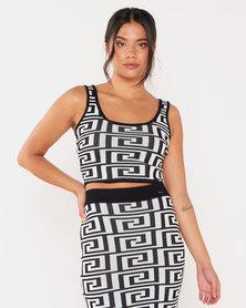 Sissy Boy Rena Printed Knit Crop Top Black/White