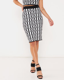 Sissy Boy Rena Printed Knit Midi Skirt Black/White