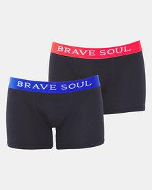 Brave Soul  2PK Colour Wasitband Bodyshorts Red & Royal Blue