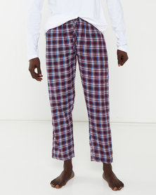 Brave Soul Flannel Check Lounge Pants Red/Navy