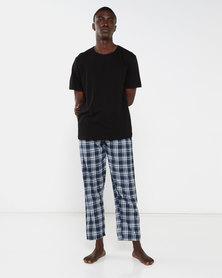 Brave Soul Short Sleeve Set With Check Pants Black/Navy