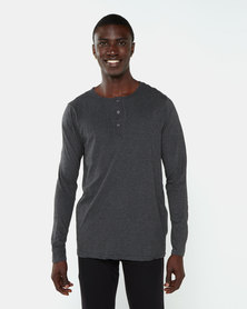 Brave Soul Marl Long Sleeve Loungewear Henley Dark Charcoal