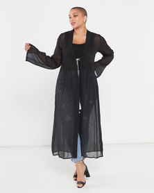 Brave Soul Plus Size Beach Cover Up Maxi Kaftan Black