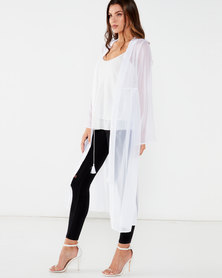Brave Soul Sheer Full Length Open Shirt White