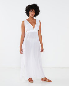 Brave Soul Grecian Beach Dress with Plunge V Neck Front & Side Split White