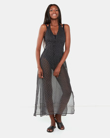 Brave Soul Halter Neck Beach Dress Black Dot
