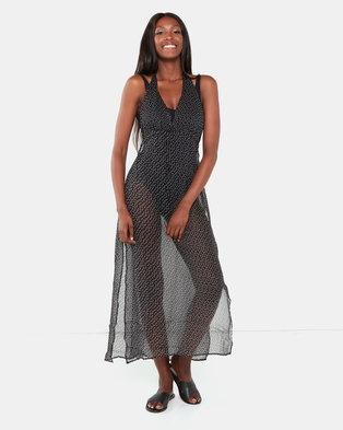 Brave Soul Halter Neck Beach Dress Black Dot