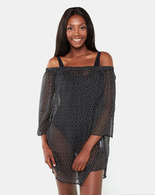 Brave Soul Off The Shoulder Beach Dress Black Dot